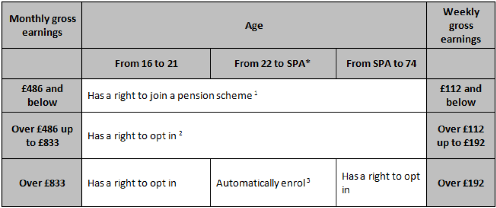 Guide to automatic enrolment grid